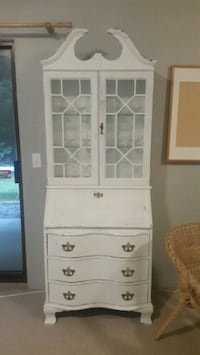 white wooden framed glass display cabinet North Vancouver, V7N 3B6