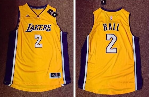 official photos 7f81a 3ca8d New Lonzo Ball Los Angeles Lakers Gold Jersey Stitched Sizes Mens S, M, L,  XL