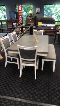 Dining Set - 1 Table, 4 Chairs & 1 Bench