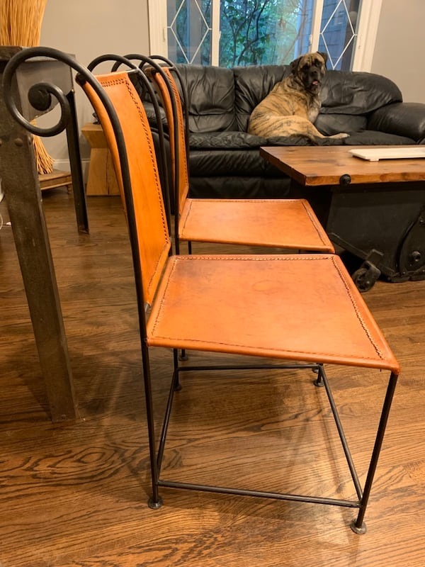 2 Metal and Leather Chairs 1a052363-3ff3-497f-bb8f-101fc54b317d