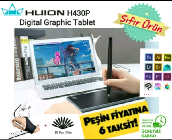 HUION 430P Digital Grafik Tablet & Stylus Kalem c8b94116-4f5e-43aa-9bcc-ce8f7e530221
