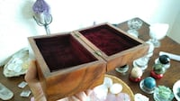 Handmade Solid Wooden Jewelry Box with Marquetry and purple velvet cushioning MEDFORD