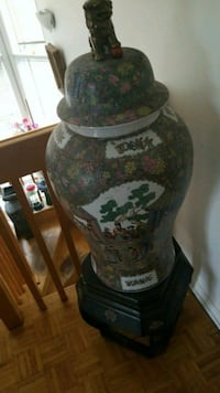 brown and green floral ceramic vase Montreal, H3R 3L4
