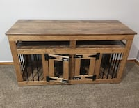 Solid Wood Custom Double Dog Kennel TV Stand 904 mi