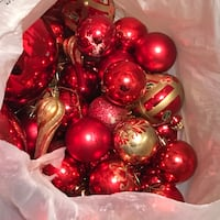 red and gold-colored floral Christmas bauble lot