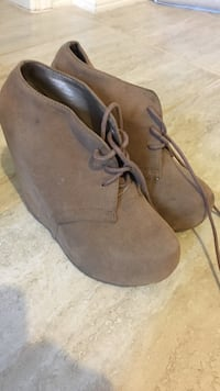 pair of women's brown suede booties Vancouver, V5P