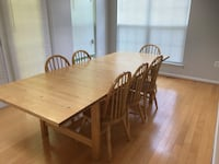 Rectangular brown wooden table with six chairs dining set Clinton, 20735