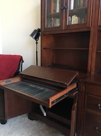 Desk with built in bookcases/printer area and lateral.