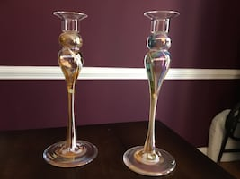 Hand blown glass candle holders