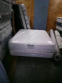 white wooden bed frame and white mattress Opa-locka, 33054