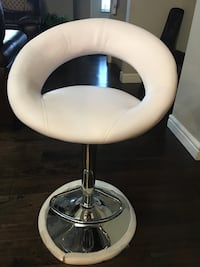stainless steel base white leather padded bar seat 3143 km