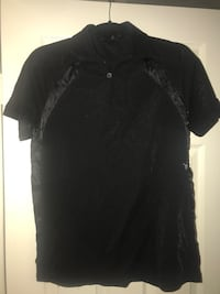 Woman's L spider black polo shirt In good condition located off lake m Las Vegas, 89108