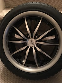 Barely used, sold car so no longer needed - Winter tires with rims for was on Hyundai Veloster Kirkland, H9H 3C3