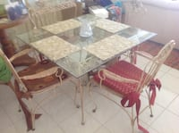 brown metal base glass top dining table set Delray Beach, 33445