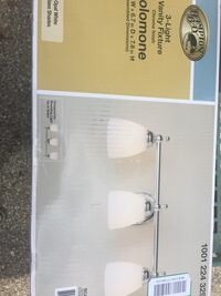 Brand new in the box Hampton Bay 3-Light Polished Chrome Vanity Light with Opal Glass Shades This polished chrome 3-light vanity light has a stylish oval back plate with curved arm detail. The perfect combination of traditional details with a contemporary Groveport, 43125