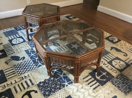 Wicker Coffee table and 2 end tables