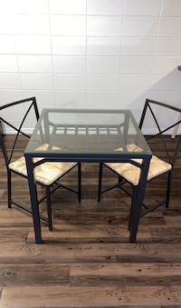 IKEA Glass Top Metal Table and Chairs