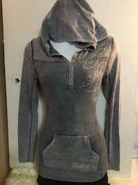 Guess hooded grey long sleeve top: size xs