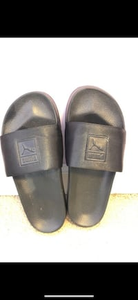 pair of black leather slide sandals Bowie, 20720