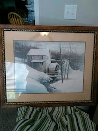brown wooden framed painting of a cristmill Hollister, 65672