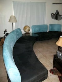 SUED SECTIONAL SET WITH GLASS WEDGE TABLE  Las Vegas, 89101