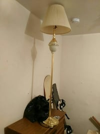 brass-colored floor lamp with cone-shaped white la St. Catharines, L2R 3W8