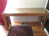 Bamboo Wicker Glass Top Sofa / Console / Hallway Table