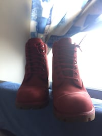 Red Timberlands boots. Toronto, M3C
