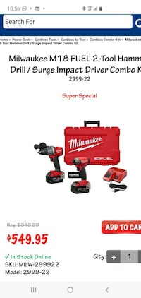 Milwaukee 2-Tool Combo Kit its Brand new Never Used  Mission