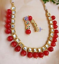 red and yellow beaded necklace Jaipur, 302012