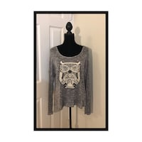 NWT Free Kisses Owl Gray Light Sweater W/Lace Top..Size XL Virginia Beach, 23451