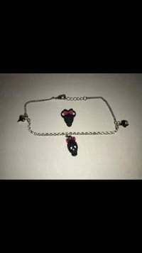 Bracelet & Ring Fashion Jewelry Sets Black Skull With Pink Bow Theme Vancouver, V5X 1A7