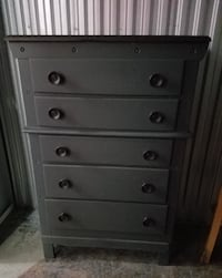 Hand-painted gray wood chest Washington