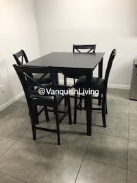 Espresso Dining Room Table - Pub Table With 4 Chairs