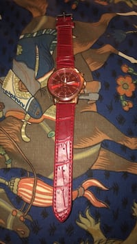 Brand new Geneva Watch Round gold analog watch with red leather strap Bethesda, 20814