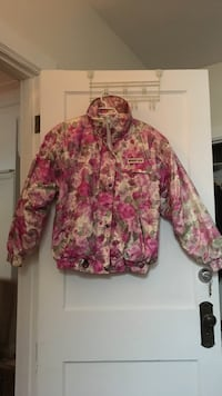 pink and white button-up jacket