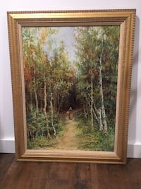 Brown wooden framed painting of trees Hastings on Hudson, 10706
