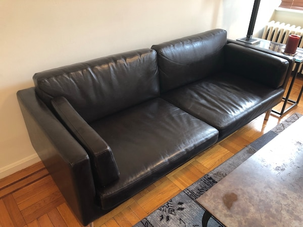 IKEA Black Leather 3-seat Sofa Couch