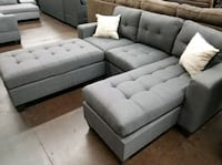 Brand New Grey Linen Sectional Sofa +Ottoman  Silver Spring
