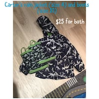 Carter's rain jacket (size 4) and matching boots (size 10)! Toronto, M2N 7K2