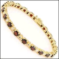 Womens diamond and 10 ctw garnet bracelet  18k yellow gold plated 925