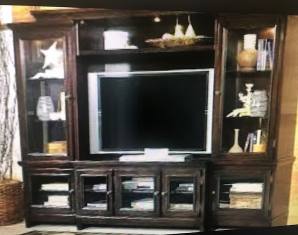 Used Ashley Furniture Entertainment Center Dark Brown For Sale In