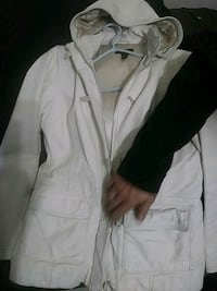 Danier womans white leather jacket with hood Vancouver, V6A 1K3