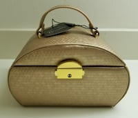 Gold Faux Leather Design Handled Travel Personal Jewelry Box With Key - New Cape Coral