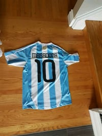 blue and white Adidas Argentina  jersey shirt Grimsby