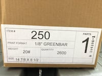 "Box of Greenbar paper 14-7/8"" x 8""-1/2"" with 1/8"" Green Bar Leesburg"