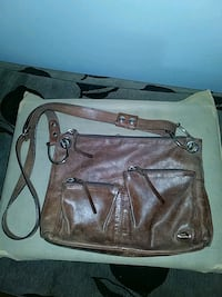 Brown leather satchel