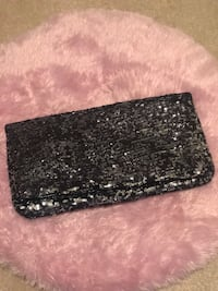Black and Silver Sparkle Clutch Bag