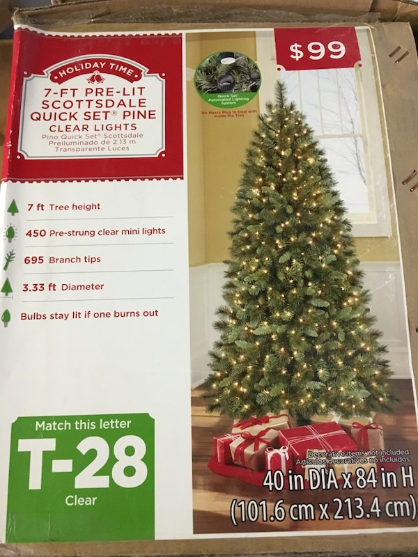 Used holiday time 7-ft pre-lit scottsdale quick set pine clear lights Christmas Tree for sale in Fullerton - letgo