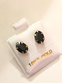 10k yellow gold 6 claws genuine dark blue sapphire earring 2.2ct total 多伦多, M6J 1T8